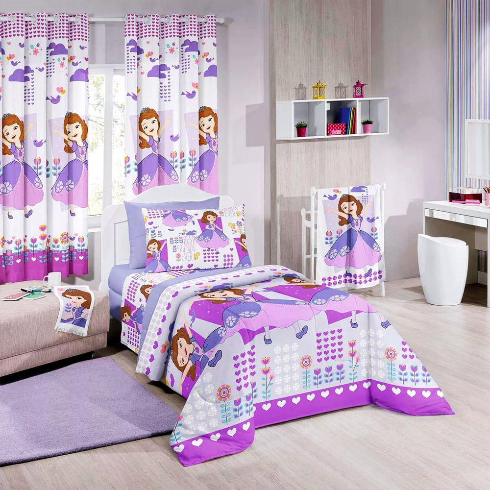 Edredom Infantil Princesa Sofia Santista Emporiodolencol ~ Decoração Quarto Infantil Princesas