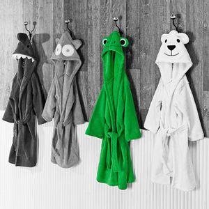 Roupao-de-Banho-Infantil-com-Capuz-Masculino-Tamanho-P-Andreza-Sapo-Verde